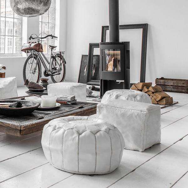 Moroccan Leather Pouf | White - Zoco Home