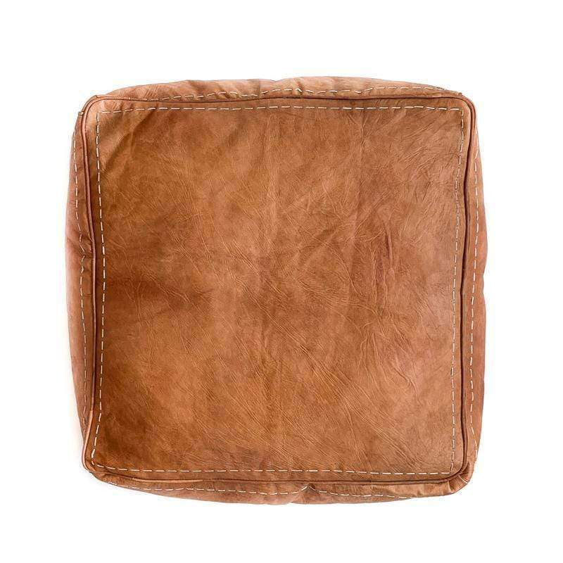 Square Leather Pouf | Cognac | 60cm