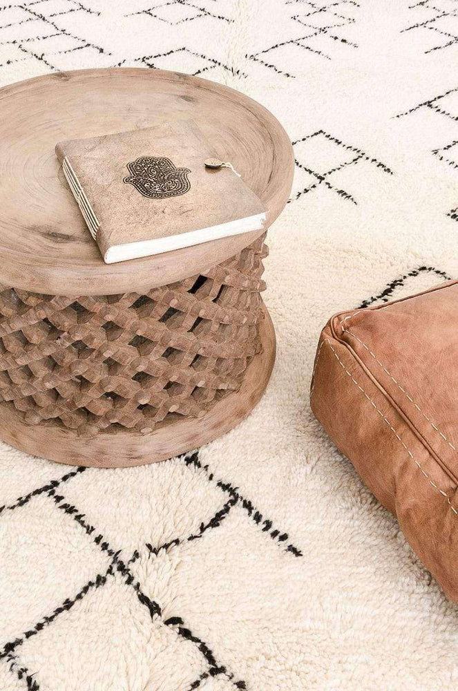 Square Leather Pouf | Cognac | 60cm - Zoco Home