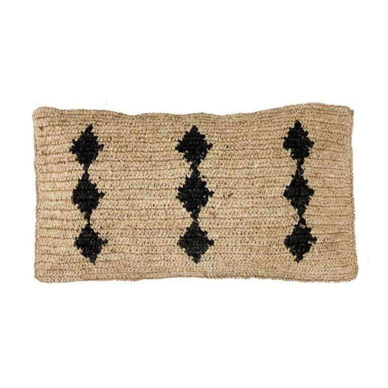 Raffia cushion cover | Black motive 70x40cm