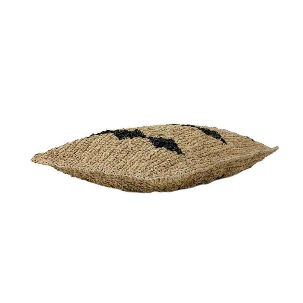 Raffia cushion cover | Black motive 70x40cm - Zoco Home