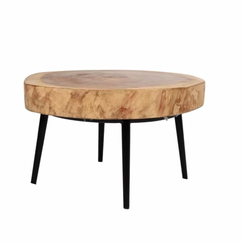 Suar Coffee Table with Black Iron Legs | 65cm