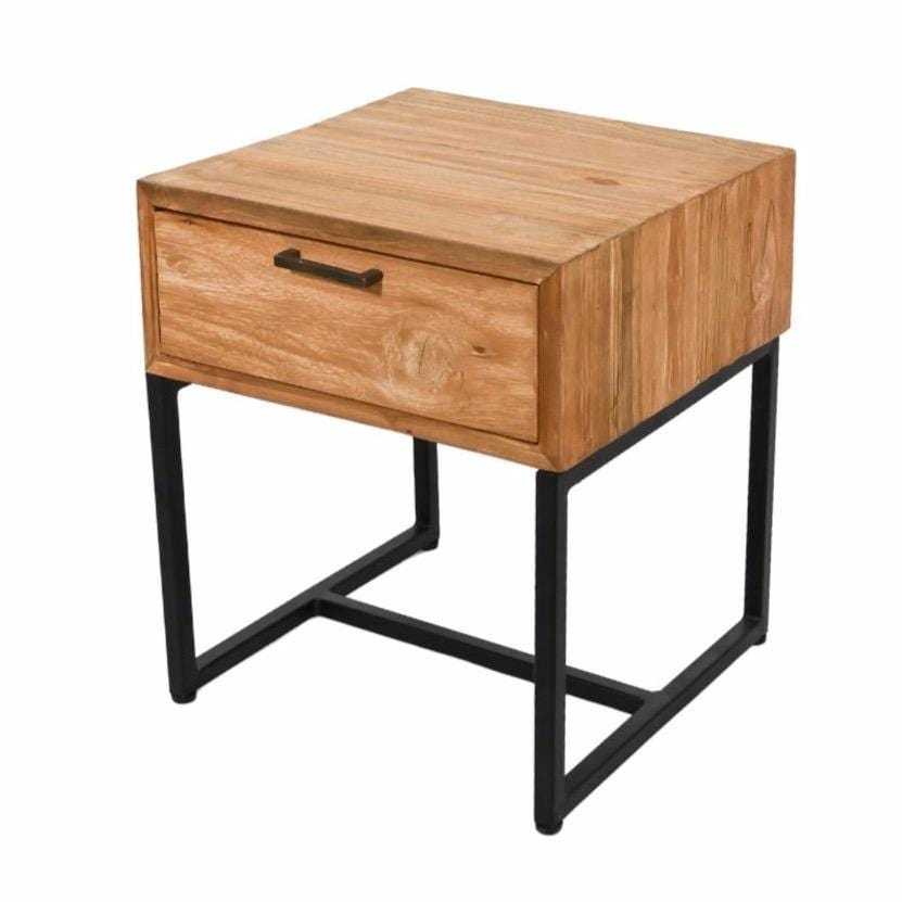 Teak Night Table with Iron Legs | Natural