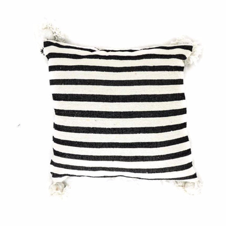 PomPom Cushion Cover | Black & White | 60x60cm - Zoco Home
