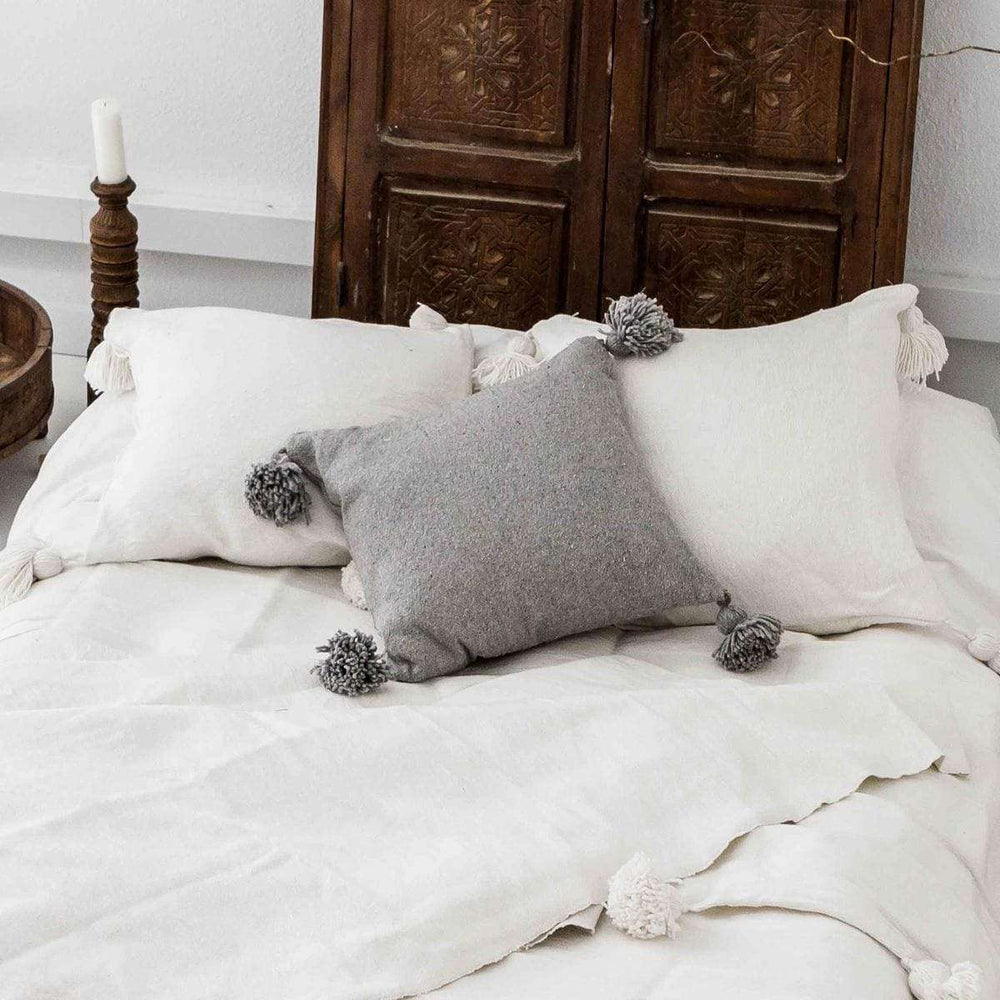 PomPom Cushion Cover | Light Grey | 60x60cm