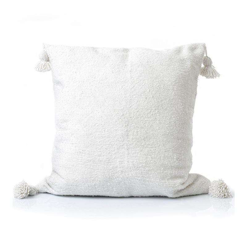 White PomPom cushion cover, 45x45cm - Zoco Home