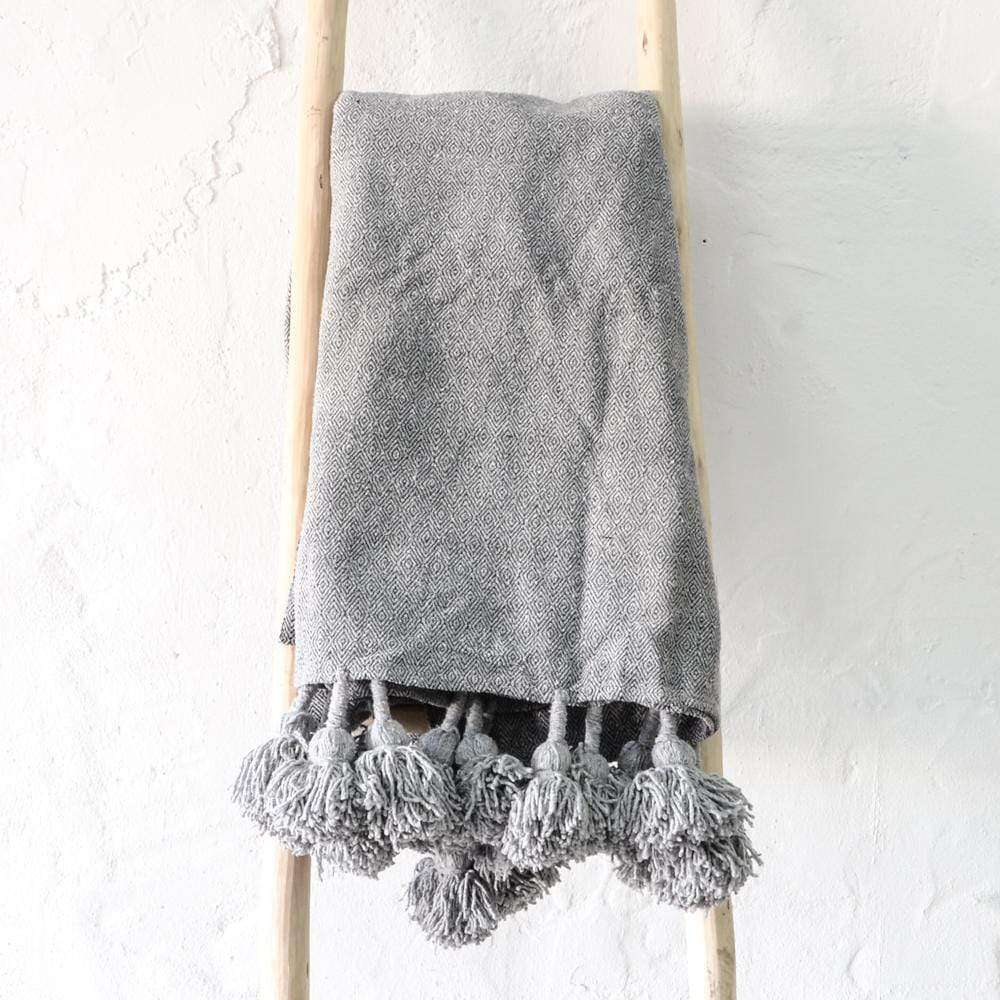 PomPom blanket | Grey - Zoco Home