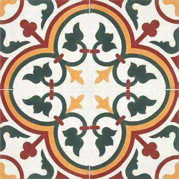 Cement Tile | Musk | White/Yellow/Green/Red