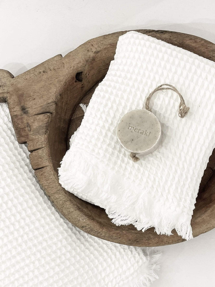 Waffle Towels White + Soap