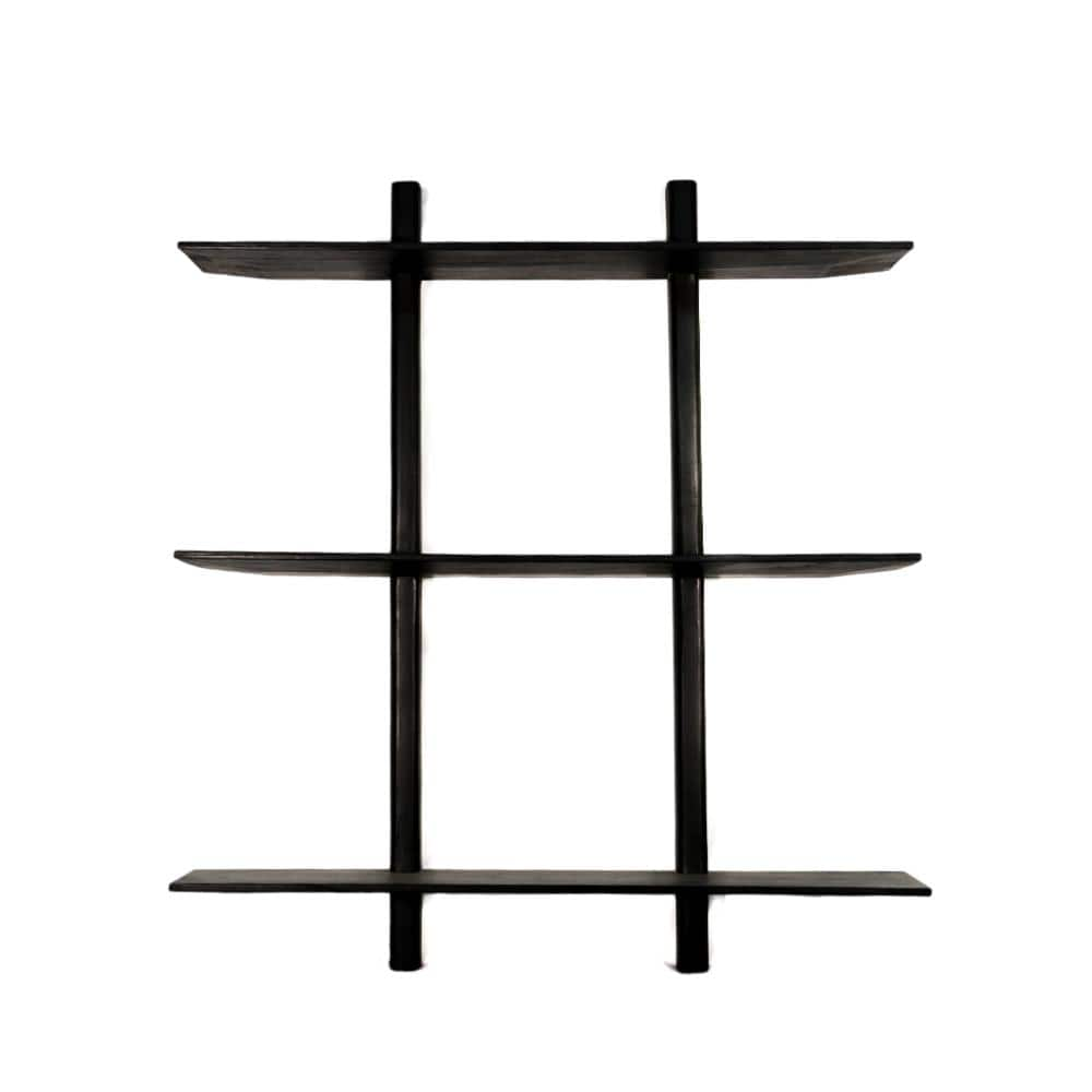 Wooden Wall Shelves | Black 100x90cm