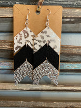 Load image into Gallery viewer, Triple glitter and animal print earrings