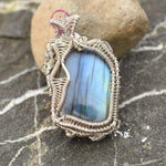 Wire Wrapped Pendant - jewelry - jewelry labradorite pendant silver wire - Stuff N Things