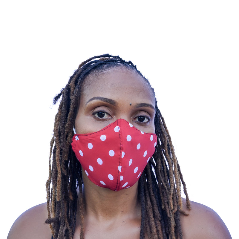 One Love Mask - Red Polka Dot (large)