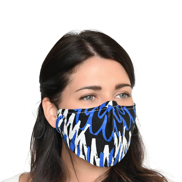 Akwaaba Mask - Graffiti Blue