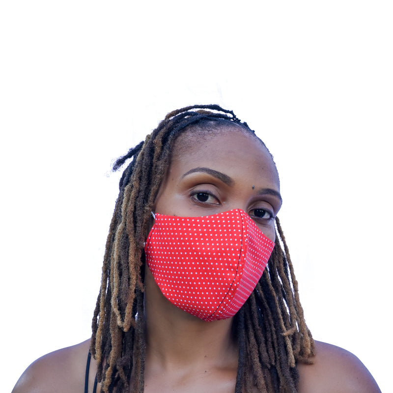 One Love Mask - Red Polka Dot (small)