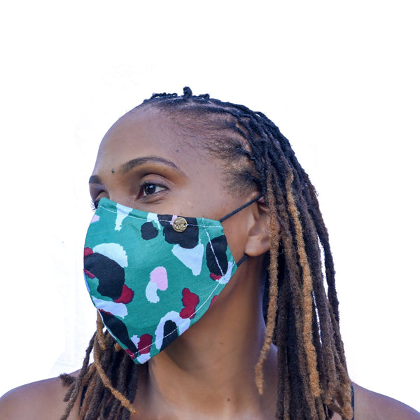 Akwaaba Mask - Teal Graffiti
