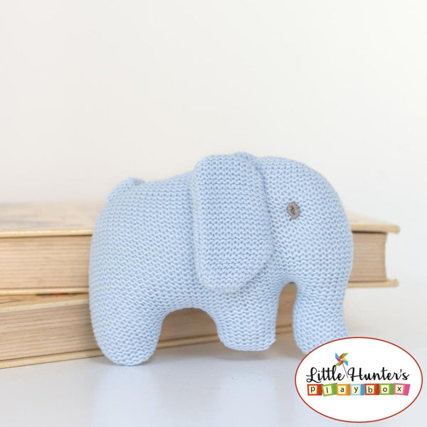 Organic Elephant Rattle Pastel Blue Baby Gift Ideas
