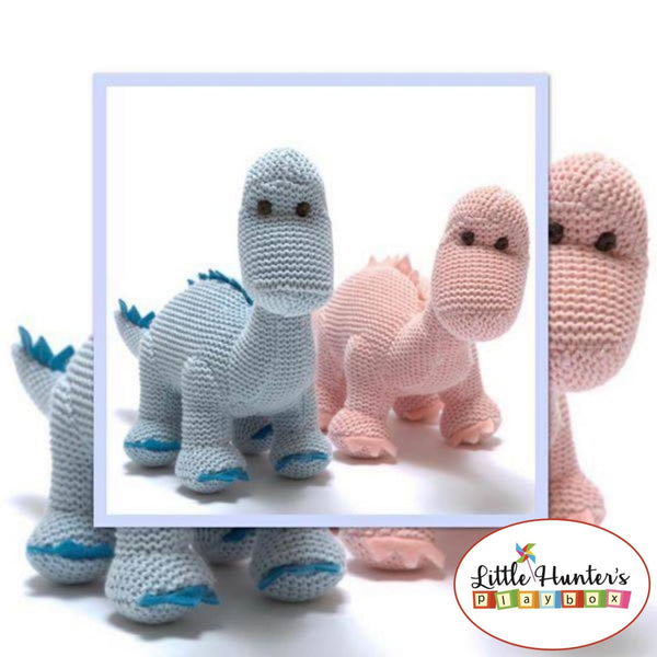 Organic Knitted Diplodocus Rattle Baby Gift Ideas