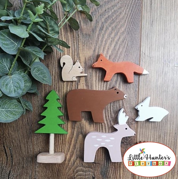 Woodland Friends Set Of 7 Wooden Toy Animals Stacking Toys