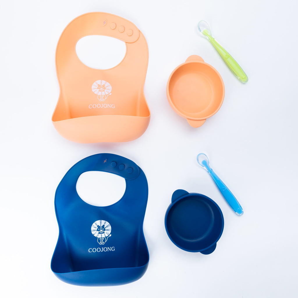 2 Pack Coojong Silicone Bib/Bowl/Spoon Set