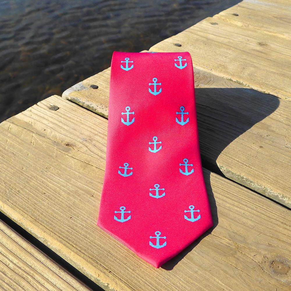 Anchor Necktie - Light Blue on Coral, Printed Silk