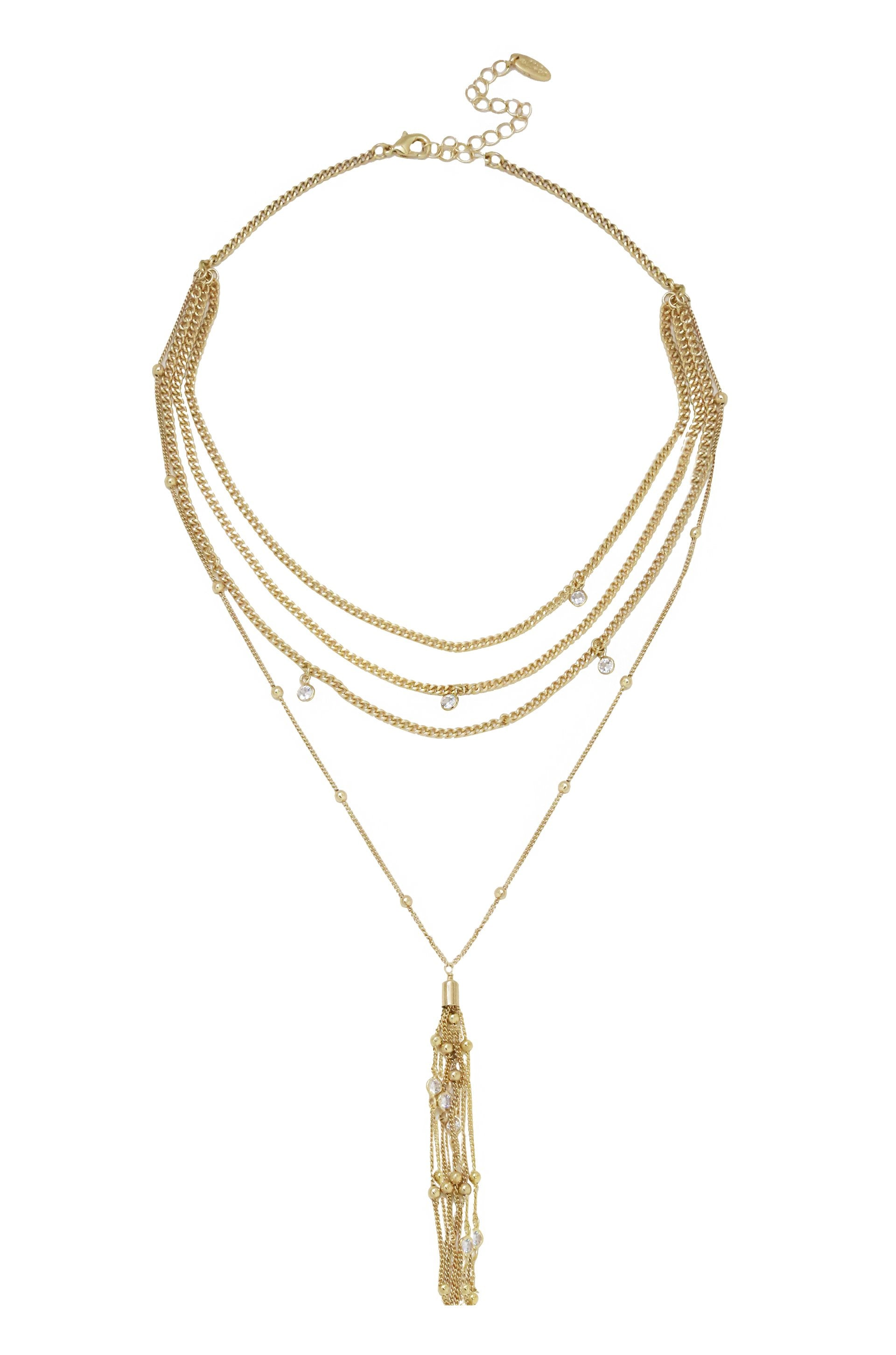 Layered Chain Drop Tassel Necklace in Gold