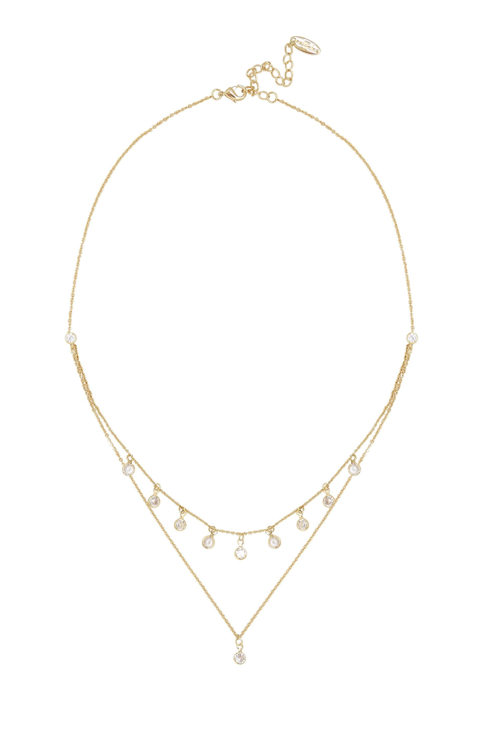 Dreamy Dainty Double Chain Necklace with Crystals