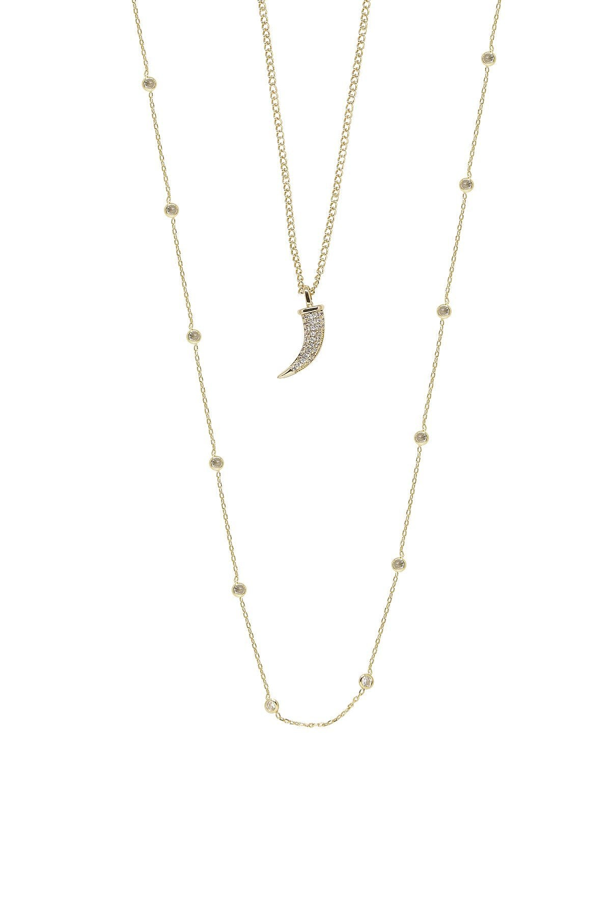 Easy Essential Horn and Delicate Chain Layered Necklace