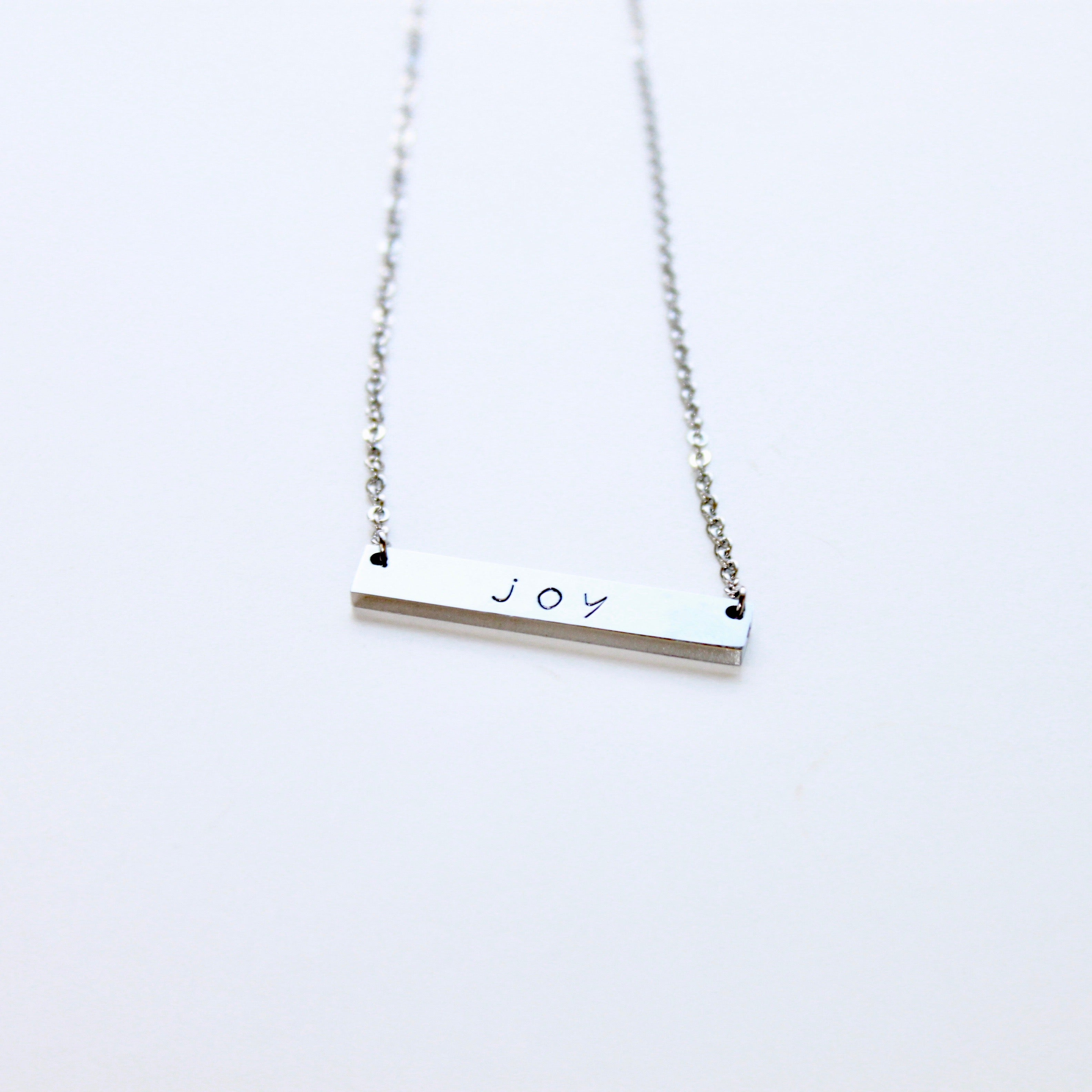 Hand Stamped Silver Bar Necklace