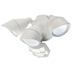 White 3 Head Outdoor Security Light Fixture with Motion Sensor