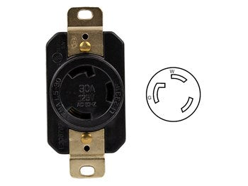 Locking Receptacle Nema L5-30R, 30A, 125V, 2-Pole, 3-Wire, Industrial Grade