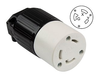 Locking Receptacle Nema L6-30C, 30A, 250V, 2-Pole, 3-Wire, Industrial Grade