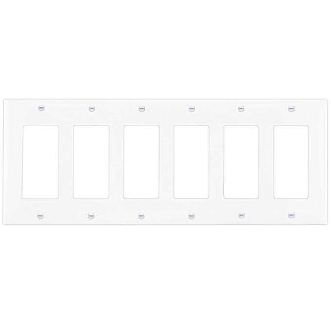 Enerlites Residential Grade, Mid-Size  Decorator/Gfci Standard Wall Plate, 6-Gang, White (8836M-W)