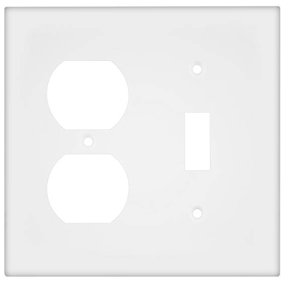 Enerlites Residential Grade, Mid-Size Combo Toggle/Duplex Receptacle, 2-Gang, White (881121M-W)