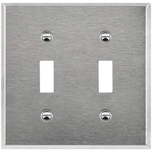 Enerlites Commercial Grade 2-Gang Toggle Switch Metal Plate,  Stainless Steel