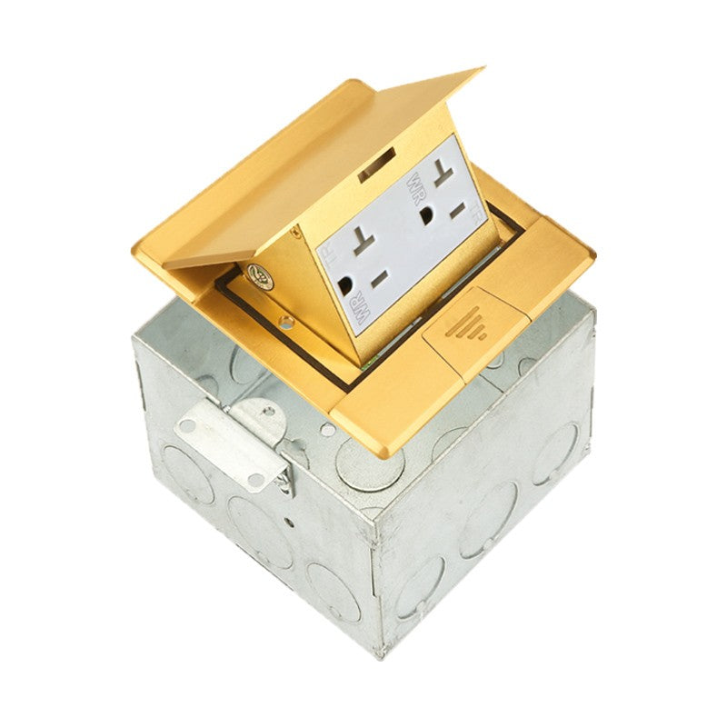 Floor Box Square Pop-up with 20A Decorator Duplex Tamper & Weather Resistant Receptacle