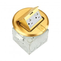 Floor Box Round Pop-up with 20A Decorator Duplex Tamper & Weather Resistant Receptacle