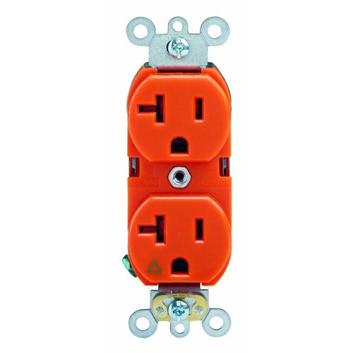 Enerlites Industrial Grade, Isolated Duplex, 20A, 125V, Orange (62000-IG-O)