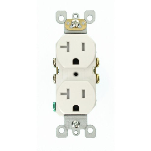 Enerlites Industrial Grade, Isolated Ground, Decorative Duplex Receptacle, 20A, 125V, White (62000-IG-TR-I)