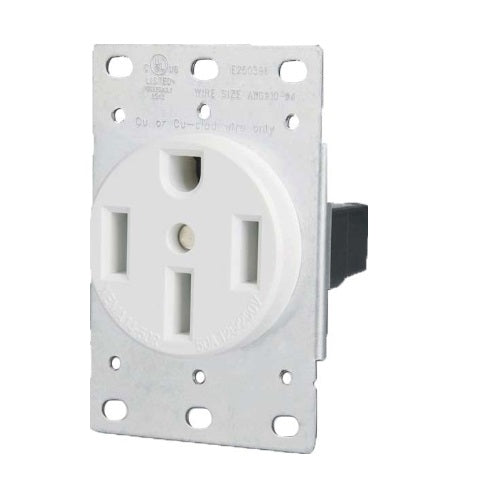 Enerlites Industrial Grade, Flush Mount Receptacle, 50A, 125/250V 3-Pole, 4-Wire Grounding, White (66500-W)