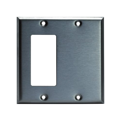 Enerlites Commercial Grade, 2-Gang Combo Metal Plate, Blank/Decorator Gfci, Stainless Steel