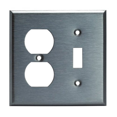 Enerlites Commercial Grade, 2-Gang Metal Combo Plate, Toggle/Duplex Receptacle, Stainless Steel