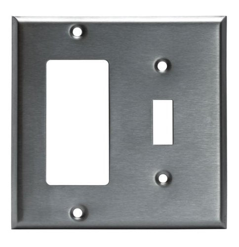 Enerlites Commercial Grade, 2-Gang Metal Combo Plate, Toggle/Decorator Gfci, Stainless Steel