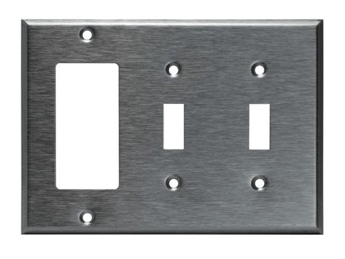 Enerlites Commercial Grade, 3-Gang Combo Metal Plate, Toggle/Toggle/Decorator Gfci, Stainless Steel (771231)