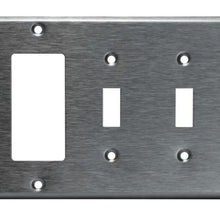 Enerlites Commercial Grade, 3-Gang Combo Metal Plate, Toggle/Toggle/Decorator Gfci, Stainless Steel