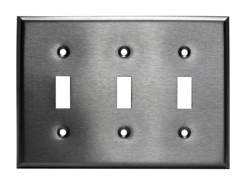 Enerlites Commercial Grade 3-Gang Toggle Switch Metal Plate, Stainless Steel