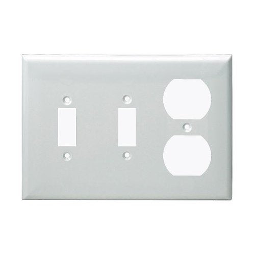 Enerlites Residential Grade, Combo Two Toggle/Duplex, 3-Gang, White (881221-W)