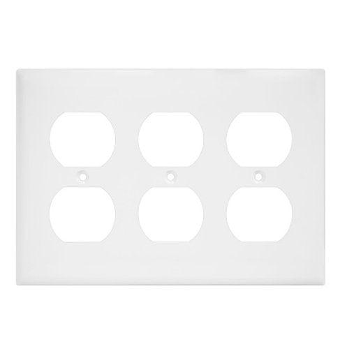 Enerlites Residential Grade, Mid-Size Duplex Receptacle Plate, 3-Gang, White (8823M-W)