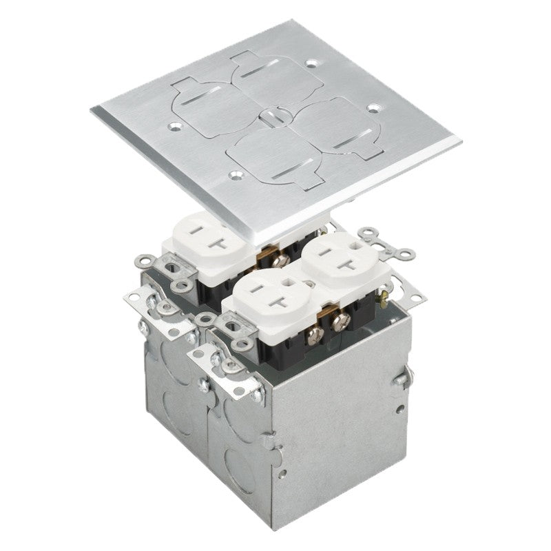 Floor Box 2-Gang with Flip Lid Cover, 20 A Duplex Tamper & Weather Resistant Receptacle
