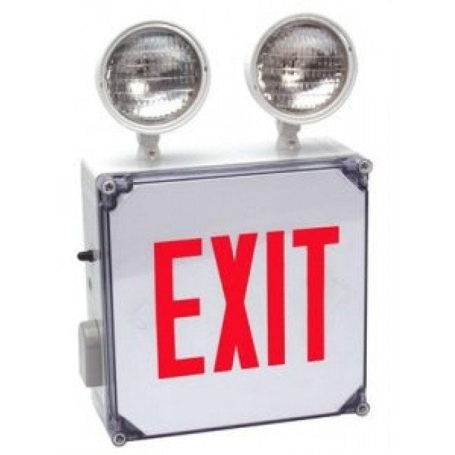 LED Exit Sign Emergency Combo Wet Location